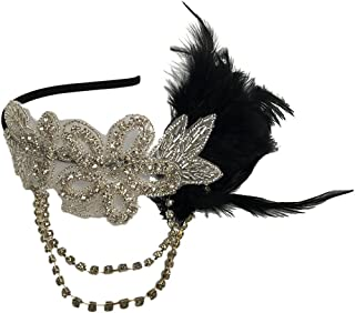 Tinksky Retro Feather Headpiece Flapper Chain Flower Hairband Great Gatsby Headband 1920s for Fancy Dress Party Dress-up Accessories Wedding Valentine's Day gift