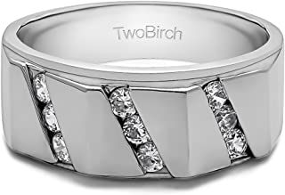 TwoBirch Sterling Silver Men's Ring with Three Rows of Channel Set Round Stones With Cubic Zirconia(0.49Ct. Size 10)