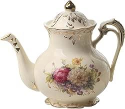 Flowering Shrubs Image Ivory Ceramic Tea Pot,Floral Vintage Teapot,29oz