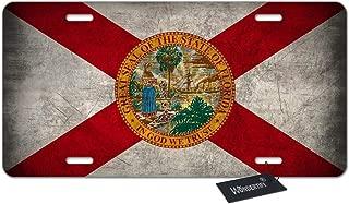 WONDERTIFY License Plate Florida Flag Us State Custom Sunshine State Emblem Decorative Car Front License Plate,Vanity Tag,Metal Car Plate,Aluminum Novelty License Plate,6 X 12 Inch (4 Holes)