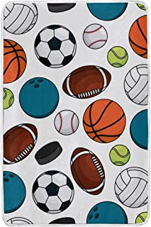 NUXIANY Artistic Blanket, Seamless Pattern Ice Hockey Pucks Balls Soft Bedding Blanket for Couch, Throw Blanket for Cover Men Women Aults Kids Girls Boys 60