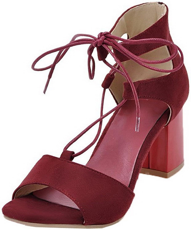 AllhqFashion Women's Kitten-Heels Frosted Lace-up Open-Toe Sandals, FBULC012591