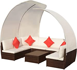 BigBanana 9 Piece Garden Lounge Set with Canopies Poly Rattan Brown