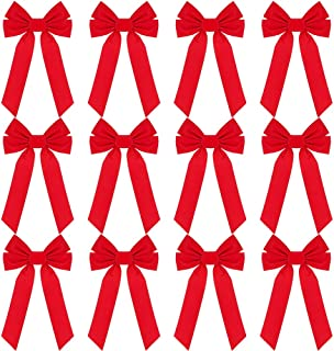 RUBFAC Red Velvet Christmas Bows 9 X 16 Inches 12 Pack Christmas Wreath Bows for Christmas Tree Garland Window Wall Large Gifts, Indoor Outdoor Holiday Decorations