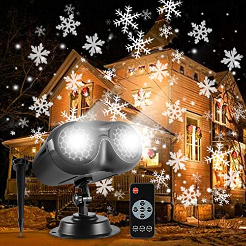 ALOVECO Christmas Snowflake Projector Lights, Rotating LED Snowfall Projection Lamp with Remote Control, Outdoor Waterproof Sparkling Decorative Lighting for Halloween Xmas Party (Cool White 6000K)