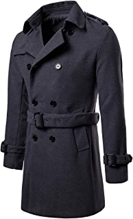 Men's Trench Coat Woolen Winter Long Double Breasted Overcoat Slim Fit Warm Pea Coat