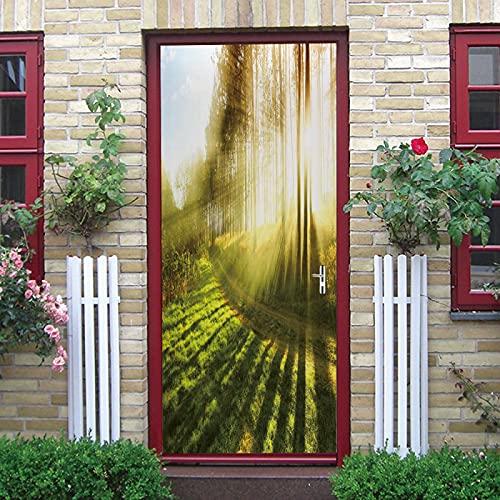 LuSeven vinilo baño Sol verde árboles plantas. 95x215cm(37.4 inches * 84.64 inches) Pegatinas de puerta 3D para puertas interiores, pegatina de puerta impermeable, papel tapiz con efecto 3D, murales d