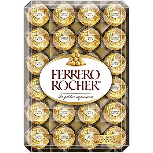 Ferrero Rocher Fine Hazelnut Chocolates, 48 Count Flat, 21.2 oz.