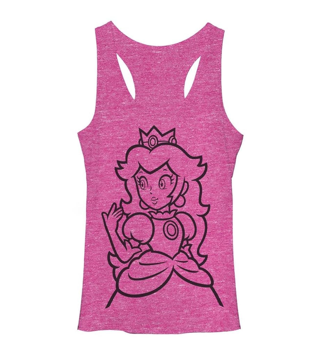 Juniors Tank Top: Super Mario Bros- Peach Outline Size M