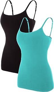 Women's Cotton Camisole Shelf Bra Spaghetti Straps Tank Top 2 Packs