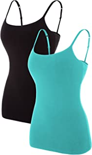 ATTRACO Women's Cotton Camisole Shelf Bra Spaghetti Straps Tank Top 2 Packs