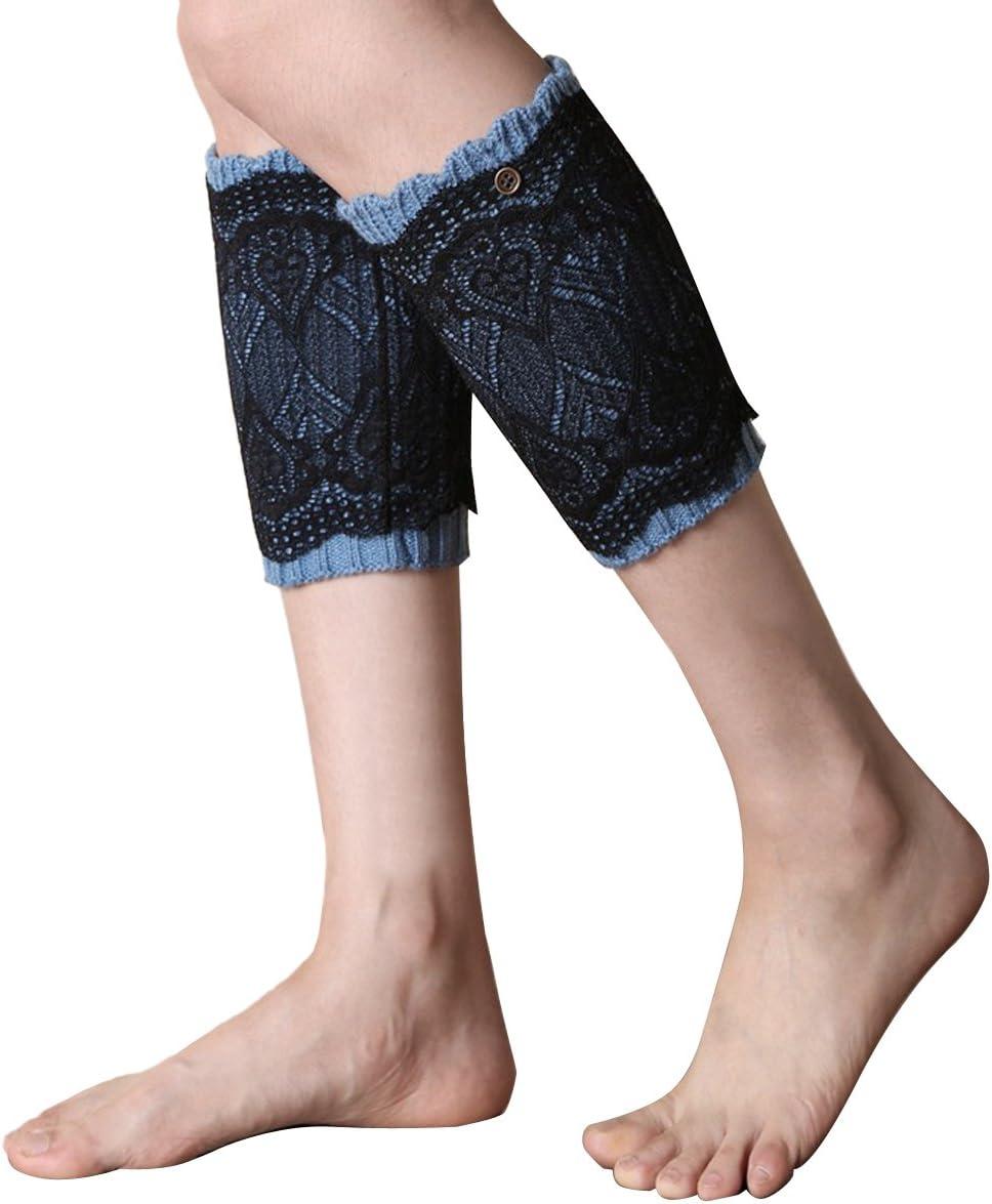 EUBUY Women's Crochet Lace Trim Knitted Toppers Leg Warmer Boot Topper Cuffs