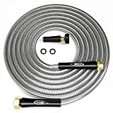 Titan 100FT Metal Garden Hose - Flexible Water Hose with Solid 3/4' Brass Connectors 360 Degree Brass Jet Sprayer Nozzle - Lightweight Kink Free Strong and Durable Heavy Duty 304 Stainless Steel
