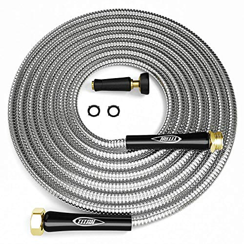 Titan 100FT Metal Garden Hose - Flexible Water Hose with Solid 3/4' Brass Connectors 360 Degree...