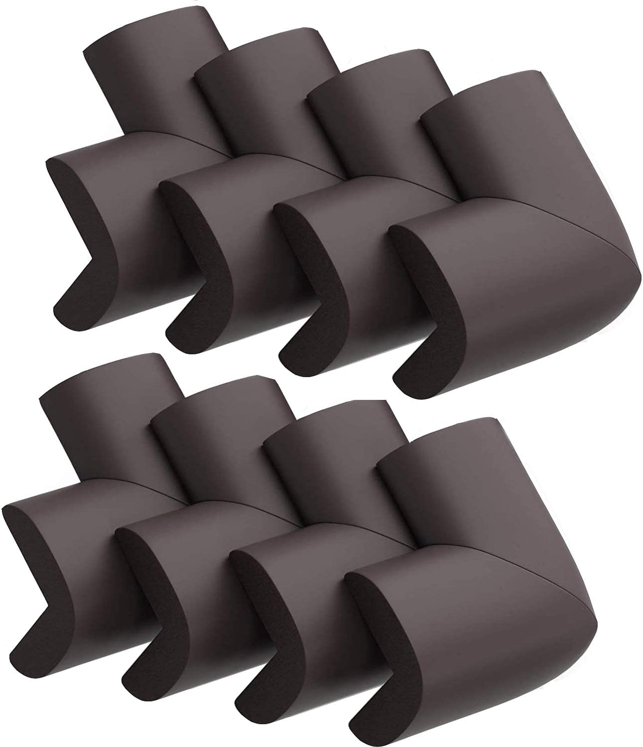 Upgraded Baby Safety Foam Corner Protectors, Childproof Tables and Furniture Sharp Corner Guards, Edge Guard Cushion, 8 Pack, (Brown)