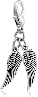 Angel Wings Clip On Charms or Pendants, Silver Tone with Lobster Clasp, 10 Pc, 7 x 31mm
