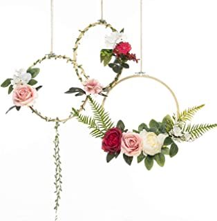 UNIQOOO Set of 3 Floral Hoops Wreaths   Modern Chic Artificial Rose Peony Fern Flower Wall Hoop Garland   Perfect for Wedding Decor Bridal Shower Farmhouse Decoration Photo Prop Welcome Wreath
