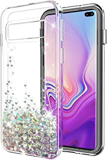 Galaxy S10 Plus case SunStory Luxury Fashion Design with Moving Shiny Quicksand Glitter and Double Protection with PC layer and TPU Bumper Case for Samsung Galaxy S10 Plus/S10+ Phone (Sliver)