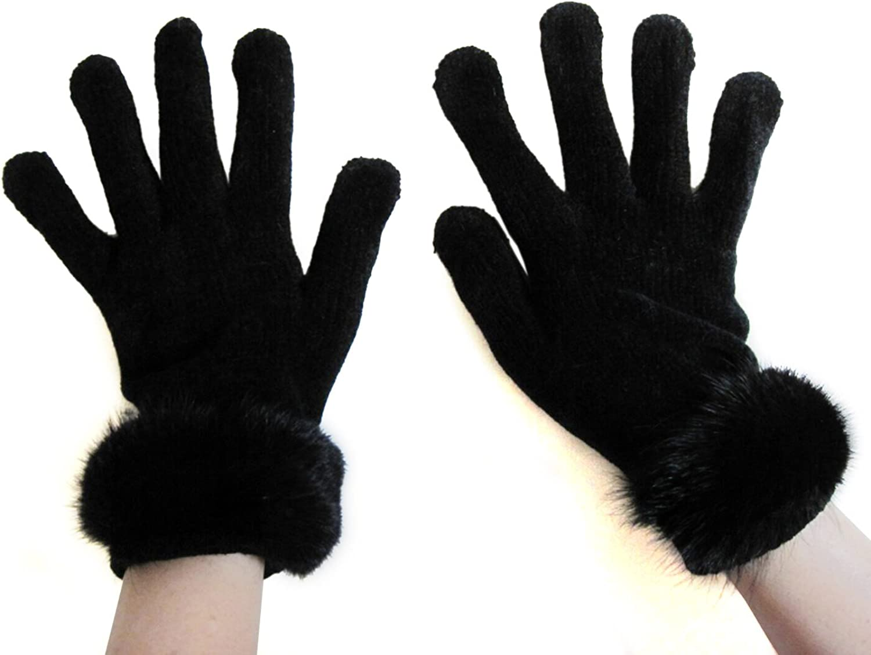FursNewYork Women's Black Stretch Chenille Gloves with Mink Fur Trim