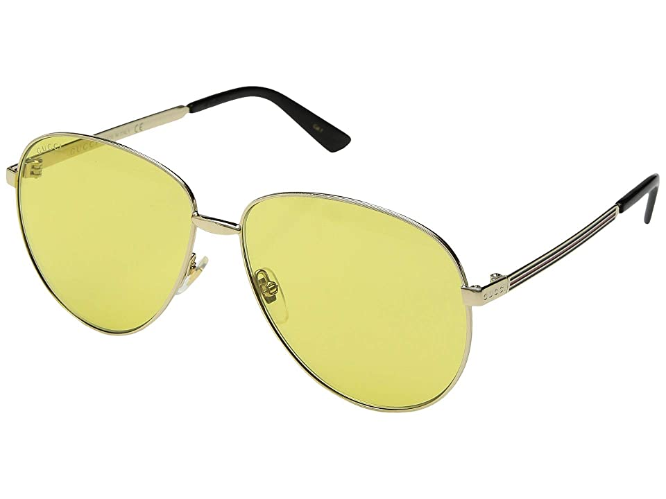 Gucci GG0138S (Gold/Solid Yellow) Fashion Sunglasses
