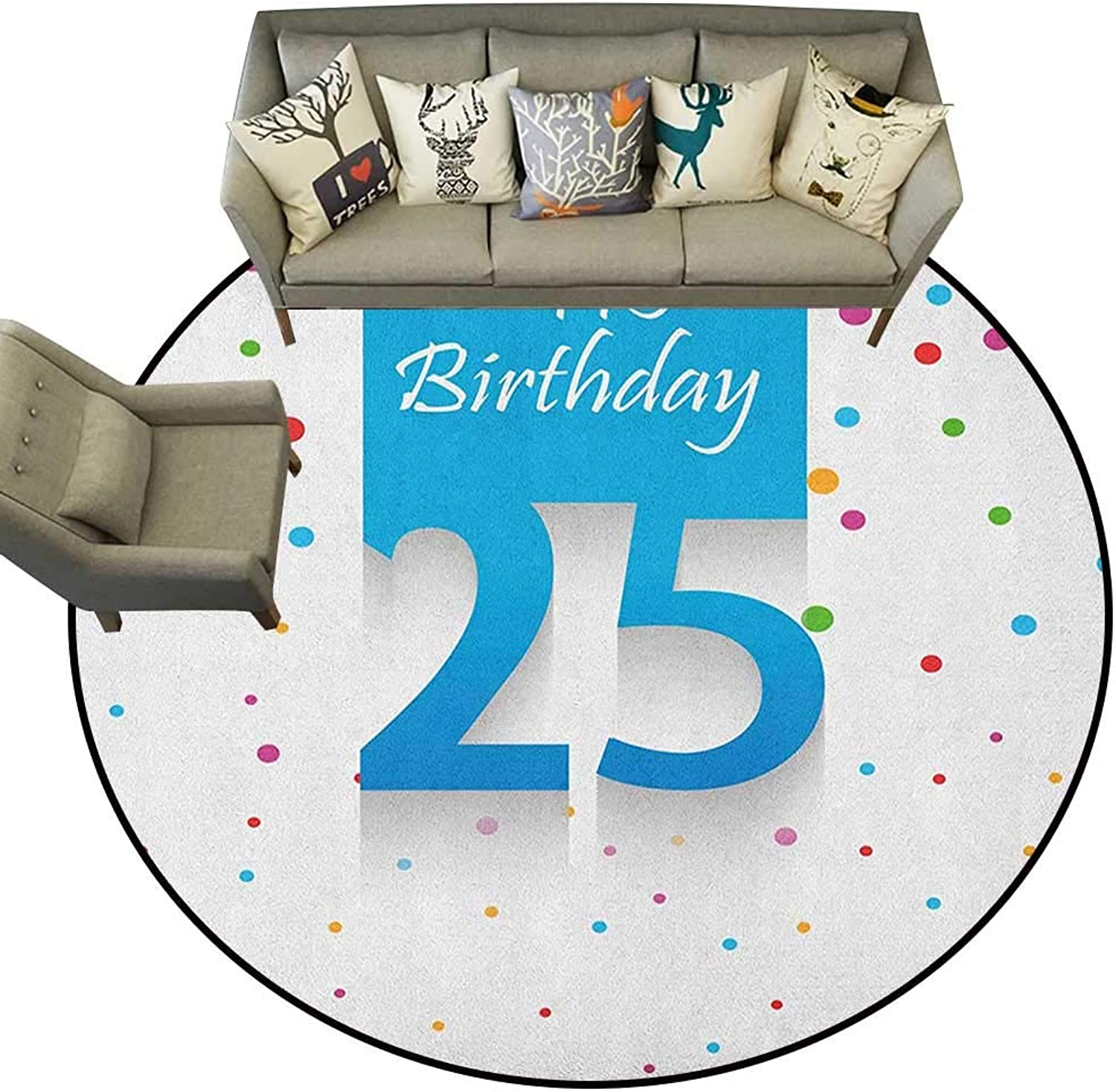 25th Birthday,Rugs for Bedroom Big and Small Polka Dots Confetti Rain and bluee Square Hand Written Print D36 Floor Mat Home Decoration Supplies