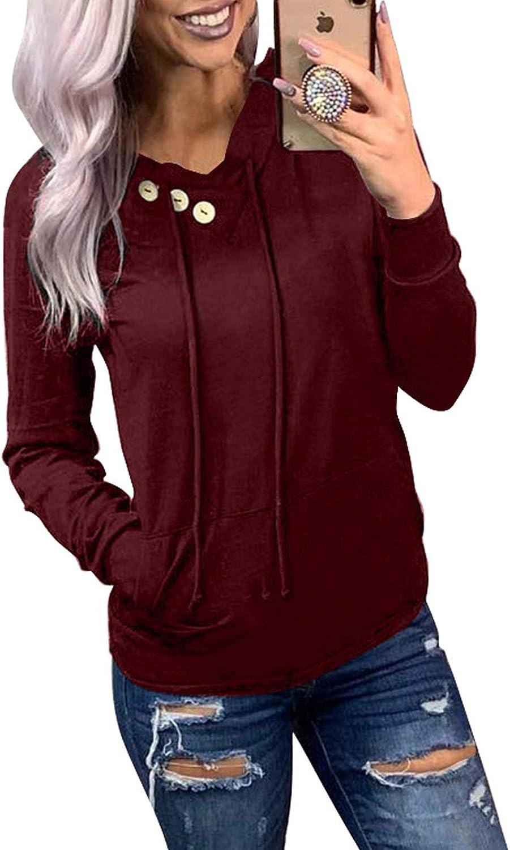ROSKIKI Womens Hoodie Sweatshirts Casual Animal Print Kangaroo Pocket Tunic Shirts Tops