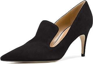 YDN Women's Low Heels Slip on Loafer Stilettos Pumps Pointy Toe Slide Suede Prom Shoes Black Size 11
