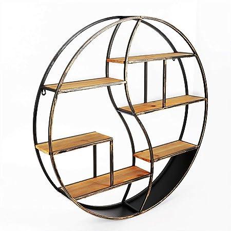 DIFU Estantería de pared redonda con 5 estantes, estilo industrial, de madera, estilo vintage