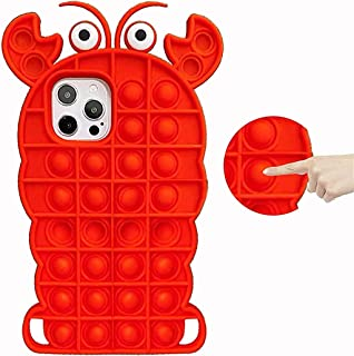 Fidget Toys Phone Case for iPhone 12/12 Pro, Pop Bubble Lobster Silicone Shockproof Protective Case