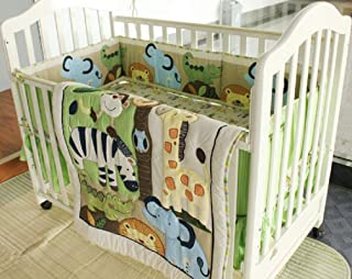 Wowelife Animal Baby Crib Bedding Sets Green 7 Piece Forest Party of Lion, Giraffe,Elephant, Zebra and Crocodile Nursery B...