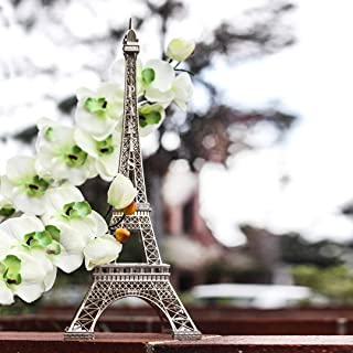SH Unlimited Metal Eiffel Tower Statue Figurine Replica Centerpiece (Silver, 15 inches)