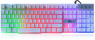 Rii RK100+ White Gaming Keyboard,USB Wired Multiple Colors R