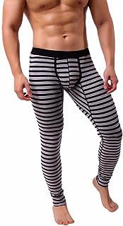 hunpta Mens Striped Breathe Patchwork Low Rise Leggings Long Johns Thermal Pant