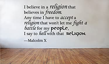 Blinggo I believe in a religion Malcolm X removable Vinyl Wall Decal Home Dicor