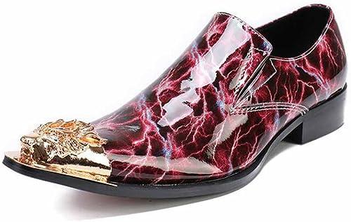 Hommes Cuir Pointu Toe Chaussures Mode Chaussures De Mariage Rouge Chaussures d'affaires Robe Confortable Britannique Bas Top Nouveauté Chaussures