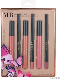 MHB Must Have Beauty Butterfly Kisses Lip Lacquer and Liner Collection - Set of 3 Liquid Lipsticks and 3 Coordinating Lip Liners
