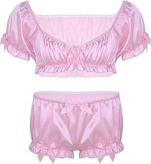 Alvivi Men's Soft Satin Frillly Ruffled Sissy Lingerie Set Short Sleeve Crop Tops Bloomers Boxer Underwear