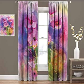 GUUVOR Flower Room Darkened Curtain Misty Flower Fields Meadow Insulated Room Bedroom Darkened Curtains W72 x L96 Inch