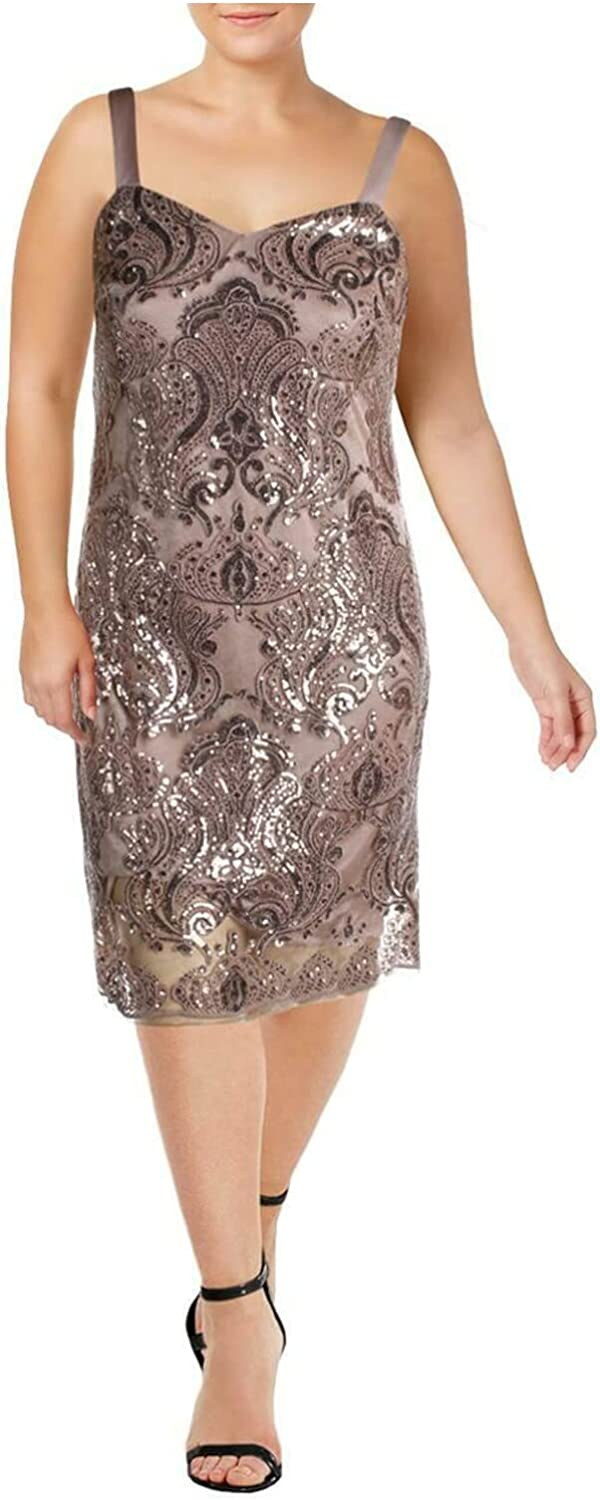R&M Richards Womens Beige Sequined Sleeveless V Neck Above The Knee Cocktail Dress Size 6
