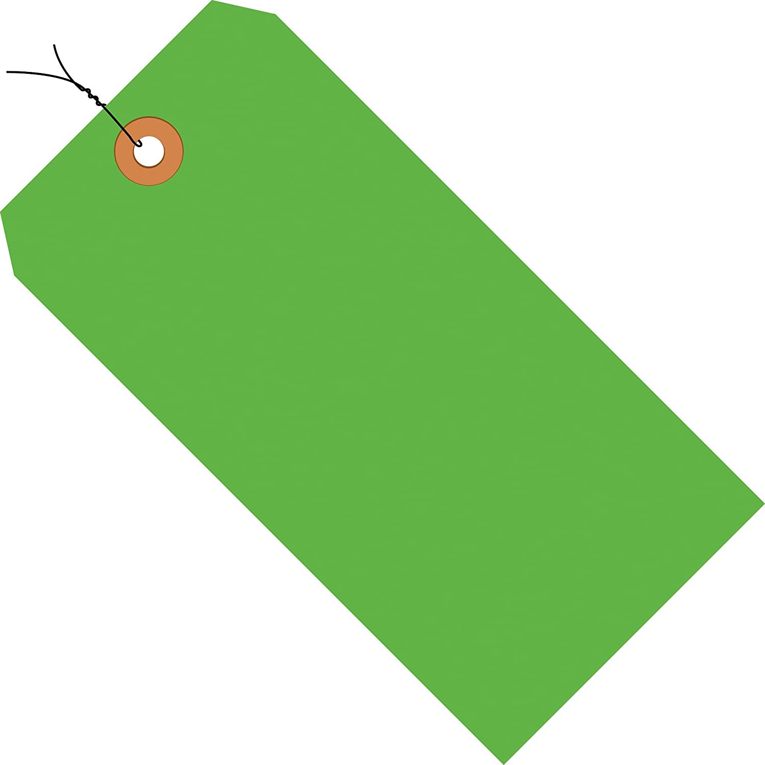 Fluorescent Green Shipping Tags, Wired, 13 Pt, 3 1/4