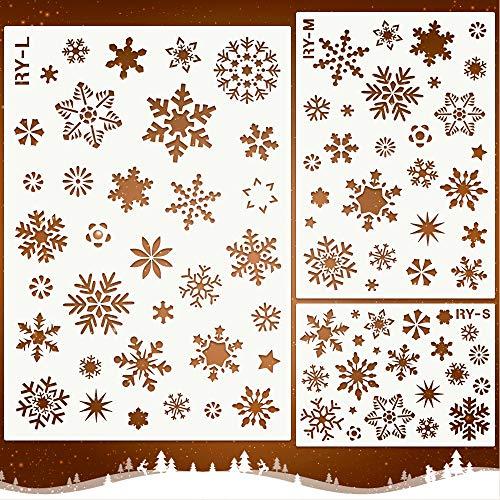 Mocoosy, stencil natalizio a forma di fiocco di neve, per dipingere su legno, riutilizzabili, per le vacanze invernali, in plastica, con fiocco di neve, decorazione fai da te, per finestre e porte