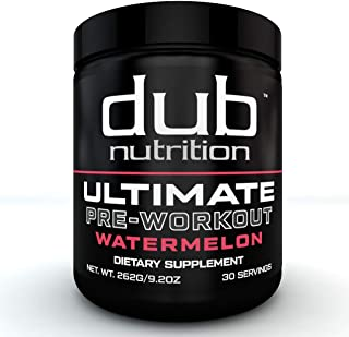Ultimate Pre Workout |by dub Nutrition Supplements| (Watermelon) Energy Pump Formula, Low Carbs, Muscle Bui...