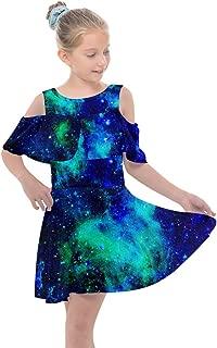 PattyCandy Toddler Girls Shoulder Cutout Chiffon Dress Cool Stars & Galaxy Print, Size 2-16