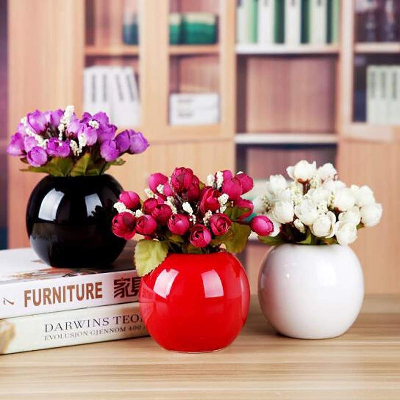 巻き取り再撮り曲げるHKXR 花瓶クリエイティブシンプルなセラミック小花瓶リビングルーム表シェルフ装飾花飾り (Color : White)