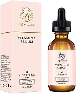 ROSVANEE Suero de Vitamina C para Rostro y Ojos 60ml - Suero Facial Puro con 20% Vitamina C, ácido hialurónico, Vitamina B y E para Anti envejecimiento, Acné, Arrugas, Manchas Oscuras y Daño Solar …
