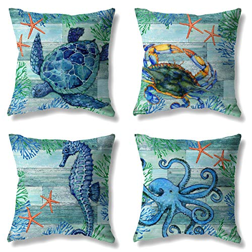 LuckyCow Sunbathing Lounger Throw Pillow Covers, Marine Blue Wood Grain Starfish sea Crab Pattern Personalized Linen Cotton Throw Pillow Cover 18'X18', Set of 4.