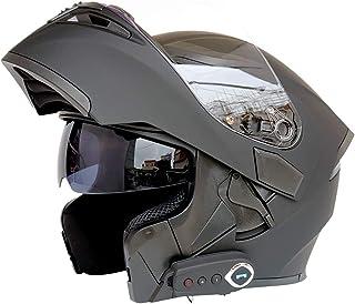 Certificaci/ón ECEYellow-M Cascos modulares de Moto de Visera Doble con Visera Completa para Hombres y Mujeres Adultos WQJJ Casco de Motocicleta Integrado Bluetooth