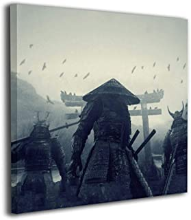 Martoo Art Japanese Samurai Painted Framed Oil Paintings Printed On Canvas Wall for Office Home Decor Pictures Modern Artwork Hanging for Living Room Decorations Ready to Hang