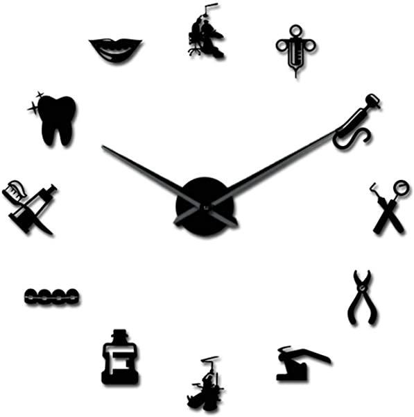 Dentist Tools Frameless 3D Wall Clock Dental Practitioners Clinic Stomatological Hospital Orthodontics Room Art Decor Clock Black 47Inch
