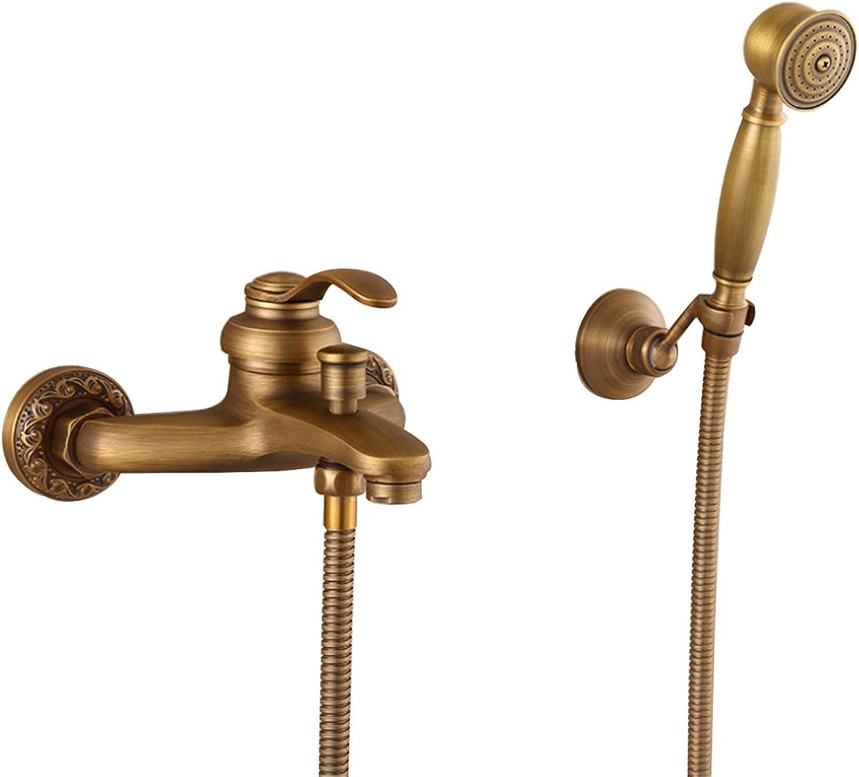 Yjmgrowing Waschraum-Zubehr Einfacher Duschsatz, antiker kupferner an der Wand befestigter Duschhahn mit Handdusche, Badezimmer-Zubehr Familiennutzung